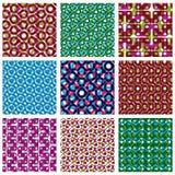 De reeks van brightl stippelde naadloze patronen, stiptegels vector illustratie