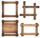 De reeks van bruin houten uithangbord en de donkere kaders zijn geïsoleerd op witte achtergrond Royalty-vrije Stock Afbeeldingen
