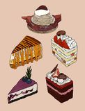 De reeks van cake, hand trekt schetsvector vector illustratie