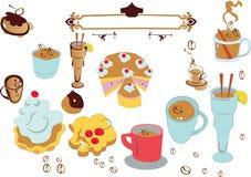 De reeks van Coffe stock illustratie