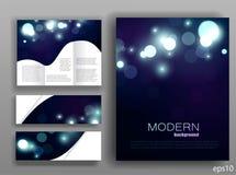 De reeks van collectieve bokeh steekt malplaatjes aan Abstract brochureontwerp blauwe glans modern shining Vector illustratie Royalty-vrije Stock Fotografie