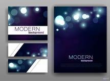 De reeks van collectieve bokeh steekt malplaatjes aan Abstract brochureontwerp blauwe glans modern shining Vector illustratie Royalty-vrije Stock Foto