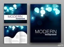 De reeks van collectieve bokeh steekt malplaatjes aan Abstract brochureontwerp blauwe glans modern shining Vector illustratie Stock Foto
