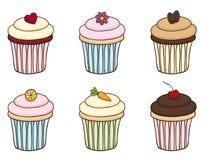 De Reeks van Cupcake van de krabbel Royalty-vrije Stock Foto's