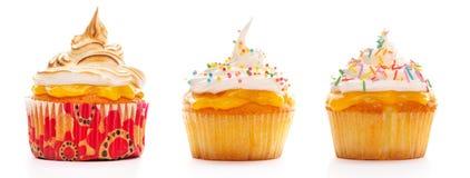 De reeks van Cupcakes Stock Afbeeldingen