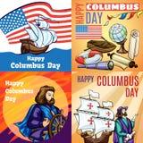 De reeks van de de dagbanner van Columbus, beeldverhaalstijl vector illustratie