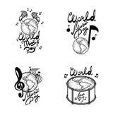 De reeks van de de dagbanner van de wereldmuziek, hand getrokken stijl royalty-vrije illustratie