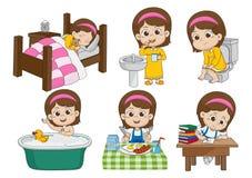 De reeks van dagelijks leuk meisje, kielzog die omhoog, tanden, jong geitje borstelen plast, nemend B royalty-vrije illustratie