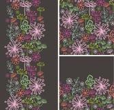 De reeks van daling plant naadloze patroon en grenzen Royalty-vrije Stock Afbeelding
