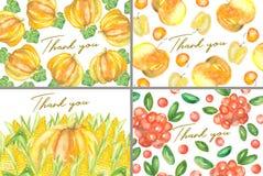 De reeks van dankt u kaarten met waterverfgewassen Royalty-vrije Stock Fotografie
