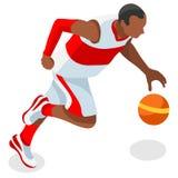 De Reeks van de Atletensummer games icon van de basketbalspeler 3D Isometrische Zwarte Basketbalolympics Speleratleet Sportieve V Stock Foto's