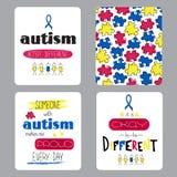 De reeks van de autismevoorlichting kaarten Royalty-vrije Stock Fotografie