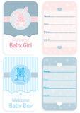 De reeks van de babydouche van twee uitnodigingskaarten Stock Afbeeldingen