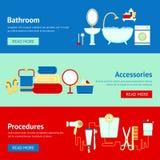 De reeks van de badkamersbanner Royalty-vrije Stock Foto's