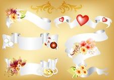 De reeks van de banner die door vakantiesymbolen wordt verfraaid Stock Foto's