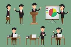 De reeks van de bedrijfsmens in divers stelt actie en karakters Stock Afbeeldingen