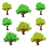 De Reeks van de beeldverhaalboom, Vlakke Vectorillustratie Stock Foto's