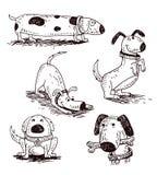 De reeks van de beeldverhaalhond, Vectorillustratie Stock Foto