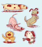 De reeks van de beeldverhaalhond, Vectorillustratie Stock Afbeelding
