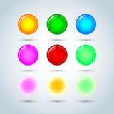 De reeks van de beeldverhaalzeepbel Cirkel, glanzend gebied, transparante bal, Vector formaat vector illustratie