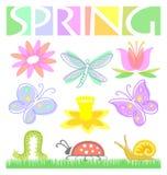 De Reeks van de Bloem en van het Insect van de lente Royalty-vrije Stock Foto
