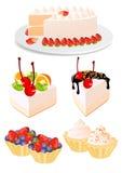 De reeks van de cake Stock Afbeeldingen