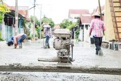 De reeks van de cementwegenbouw stock foto