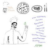 De reeks van de chef-kokpizza Stock Afbeeldingen