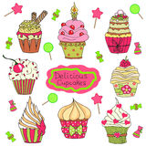 De reeks van de Cupcakekrabbel Stock Afbeeldingen