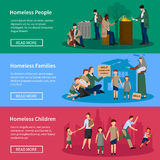 De Reeks van de dakloze Mensenbanner Stock Afbeelding