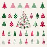De reeks van de de bomenviering van de decoratiepijnboom. Stock Foto's