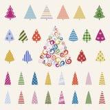 De reeks van de de bomenviering van de decoratiepijnboom. Stock Afbeelding