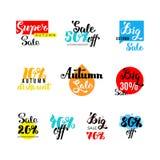 De reeks van de de herfstverkoop Hand het van letters voorzien Vector illustratie Stock Fotografie