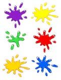 De reeks van de de kleurenplons van Paintball. Royalty-vrije Stock Foto's
