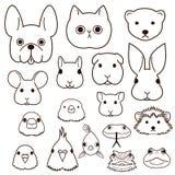 De reeks van de de lijnkunst van huisdierengezichten royalty-vrije illustratie