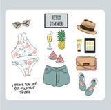 De reeks van de de zomeruitrusting Stock Foto