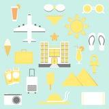 De Reeks van de de zomervakantie Vakantie geïsoleerde elementen Royalty-vrije Stock Foto's