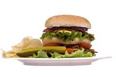 De Reeks van de hamburger (de cheeseburger van het Bacon op plaat) Royalty-vrije Stock Afbeeldingen