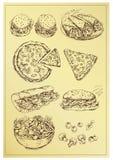 De reeks van de handtekening sandwiches Stock Foto's