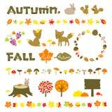 De reeks van de herfst Vector elementen voor ontwerp royalty-vrije illustratie