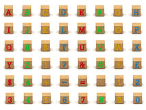 De reeks van de het alfabetbouwsteen van het kind Stock Afbeeldingen