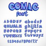 De reeks van de het alfabetinzameling van de strippaginastijl kapitaal en kleine letters met aantallen vector retro abc in pop-ar Royalty-vrije Stock Fotografie