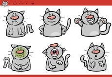 De reeks van de het beeldverhaalillustratie van kattenemoties Stock Afbeelding