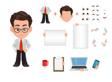 De reeks van de het karakterverwezenlijking van het bedrijfsmensenbeeldverhaal, aannemer Leuke jonge zakenman in bureaukleren Royalty-vrije Stock Afbeeldingen