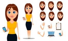 De reeks van de het karakterverwezenlijking van het bedrijfsvrouwenbeeldverhaal Jonge aantrekkelijke onderneemster in slimme vrij vector illustratie