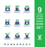 De reeks van de het pictogrambrief van het alfabetembleem Stock Afbeelding