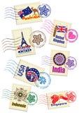 De reeks van de het pictogramzegel van het reisoriëntatiepunt Stock Fotografie