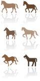 De reeks van de het symboolillustratie van het paard of van de poney. Royalty-vrije Stock Afbeeldingen