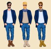 De reeks van de Hipstermens Royalty-vrije Stock Foto's