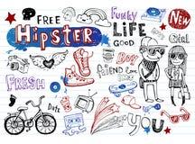 De reeks van de Hipsterskrabbel Royalty-vrije Stock Afbeelding